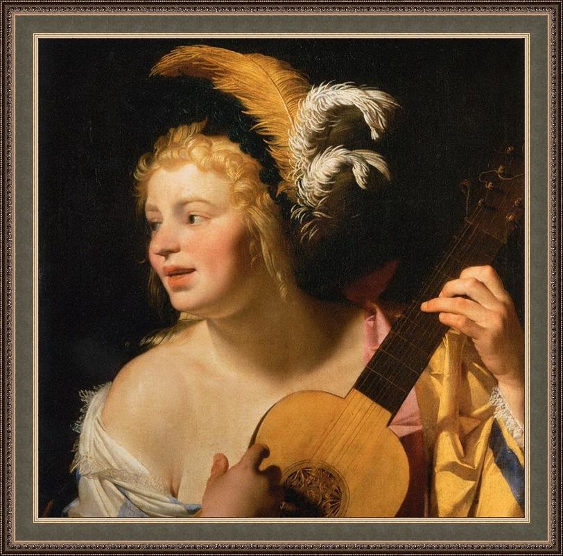 Геррит ван Хонтхорст. Женщина, играющая на гитаре