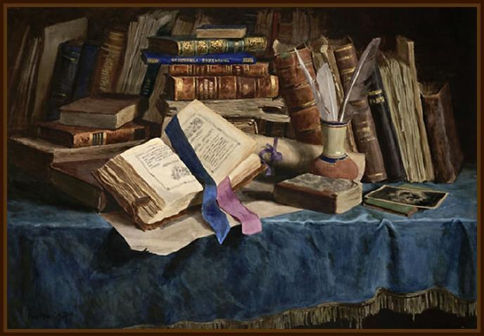 Serguéy Andriyaka. Bodegón con los libros antiguos