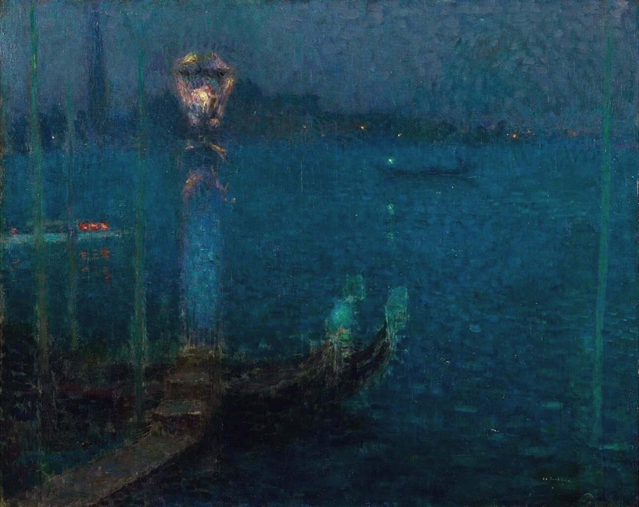 Henry Le Sidaner. Blue Night, the Bank of Gaz, 1908