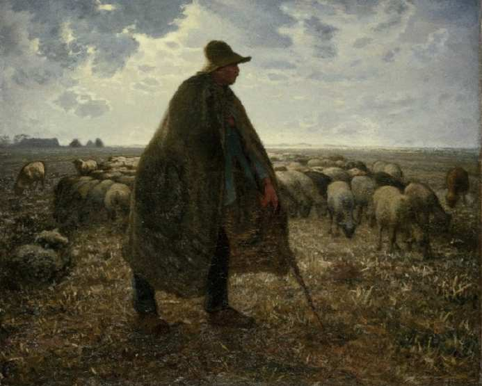 Jean-François Millet Shepherd Tending His Flock 1860-63 г.